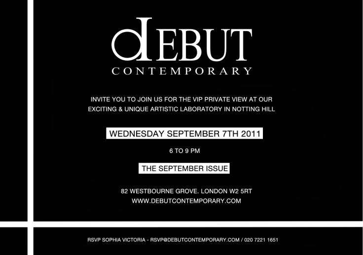 INVITATION DEBUT GALLERY 7TH SEPT